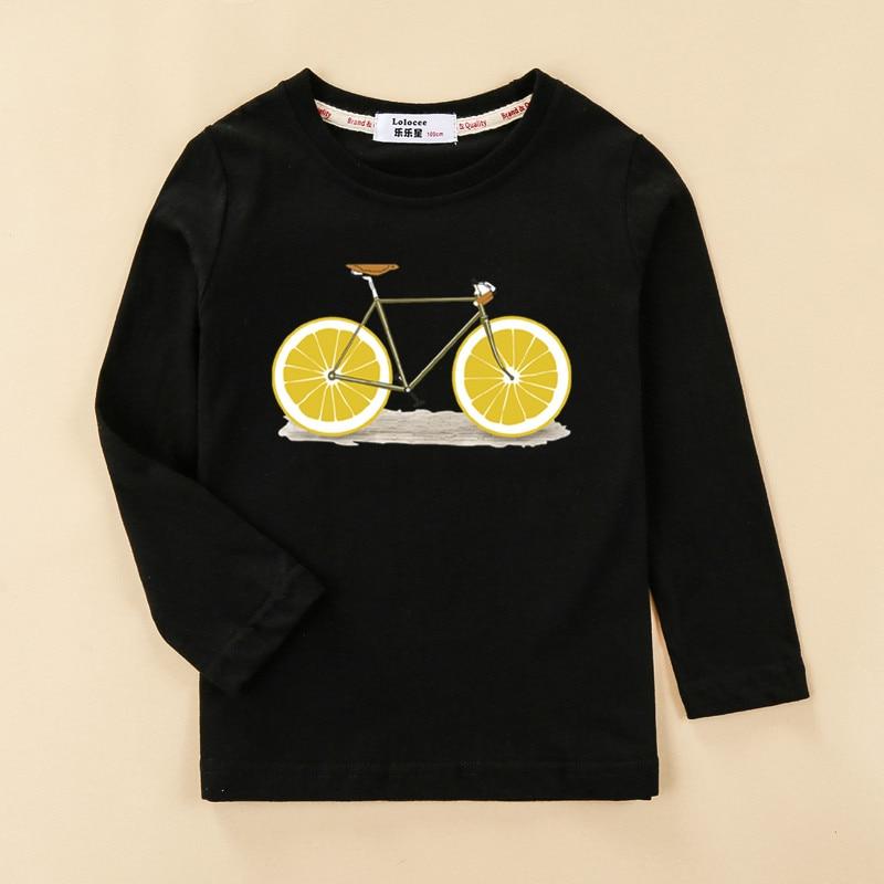 Funny Lemon Bike Kids Tees Long Sleeve Autumn Clothing Boy Cotton T-shirt Fashion Home Tops Girl Fruit Design Print Shirt 4