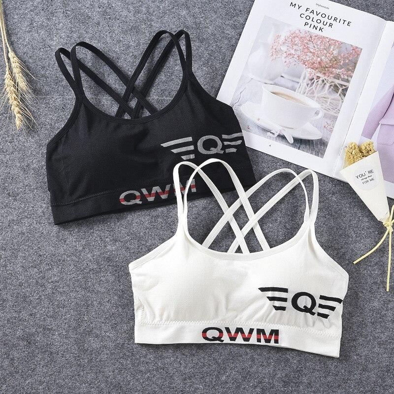 Fitness Sports Bra Yoga Push Up Bra For Women Top Black White Running Yoga Gym Fitness Crop Top Women Sport Bra Women Letters