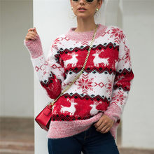 Women Sweater Plus Size Christmas Clothes For Family Women Christmas Sweater Long Sleeve O-Neck Christmas Knitting Pullover Tops(China)