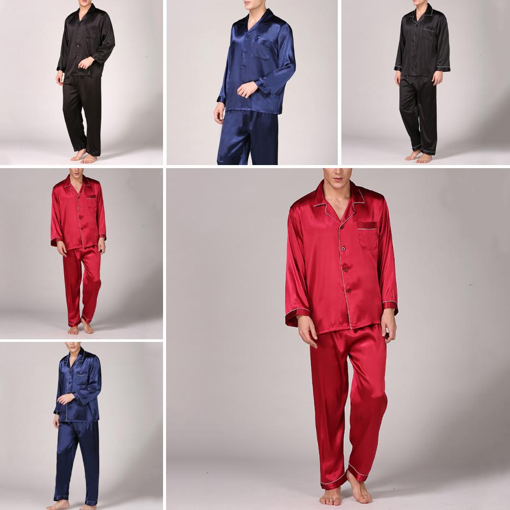 Casual Men Spring Summer Imitation Silk Pajama Set Shirt Pants Home Gown Sleepwear Nightwear