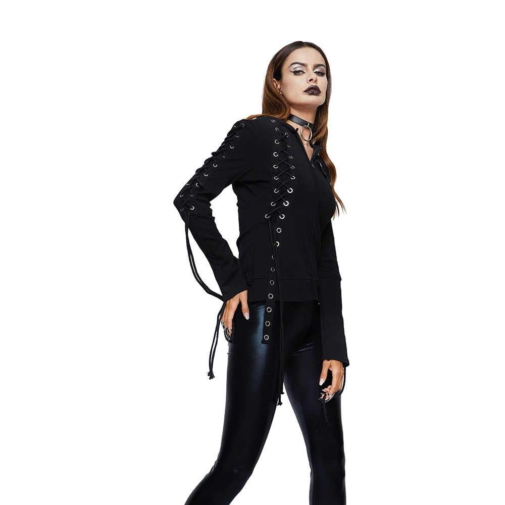 Sudadera con capucha de punto para mujer marca gótico Streetwear Hipster agujeros de encaje Punk negro con capucha para chica primavera Casual Sudadera con capucha