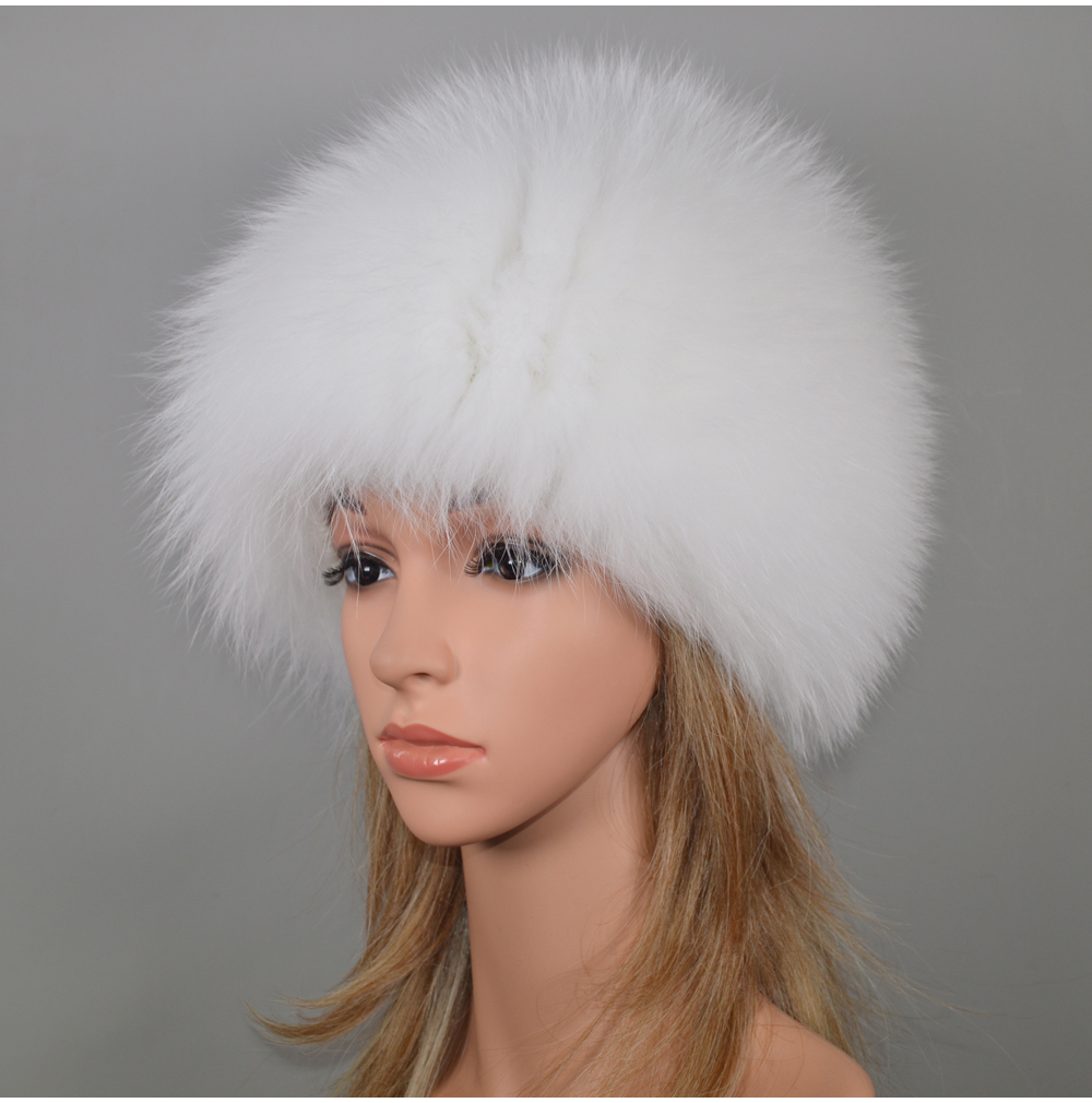 H5f19e716f26942c3a1654ad9cc0b0423X - New Luxury 100% Natural Real Fox Fur Hat Women Winter Knitted Real Fox Fur Bomber Cap Girls Warm Soft Fox Fur Beanies Hats