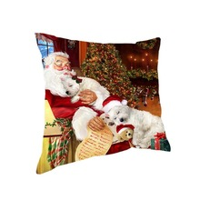 Santa Claus and Westies Dog Sleeping Together Christmas Square Pillow Cute and Peculiar Christmas Gift Back Pillow for Bed