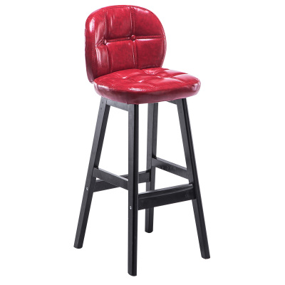 Solid Wood Bar Chair Simple   Back High Stool   Front Desk Cashier   Home