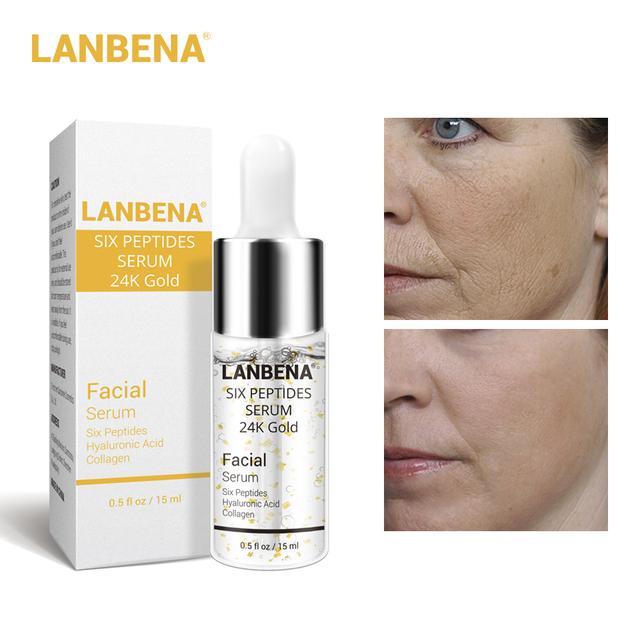 LANBENA 24K Gold Six Peptides serumWhitening  Acne Treatment Firming Face Cream  Anti-Aging Wrinkle Moisturizing Skin Care 10PCS