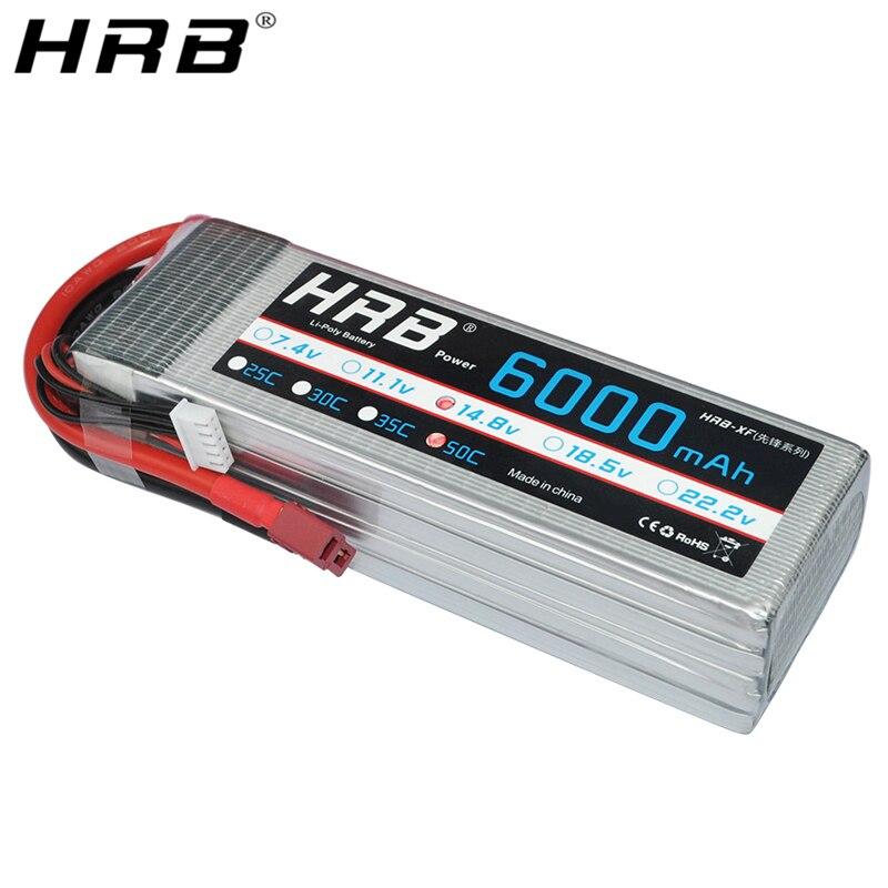 HRB Lipo Batterij 4S 14.8V 6000mah 50C XT60 XT90 EC5 Deans T TRX Vrouwelijke Voor DJI FPV drone Vliegtuigen Helikopter Auto Vrachtwagen RC Onderdelen-in Onderdelen & accessoires van Speelgoed & Hobbies op  Groep 1