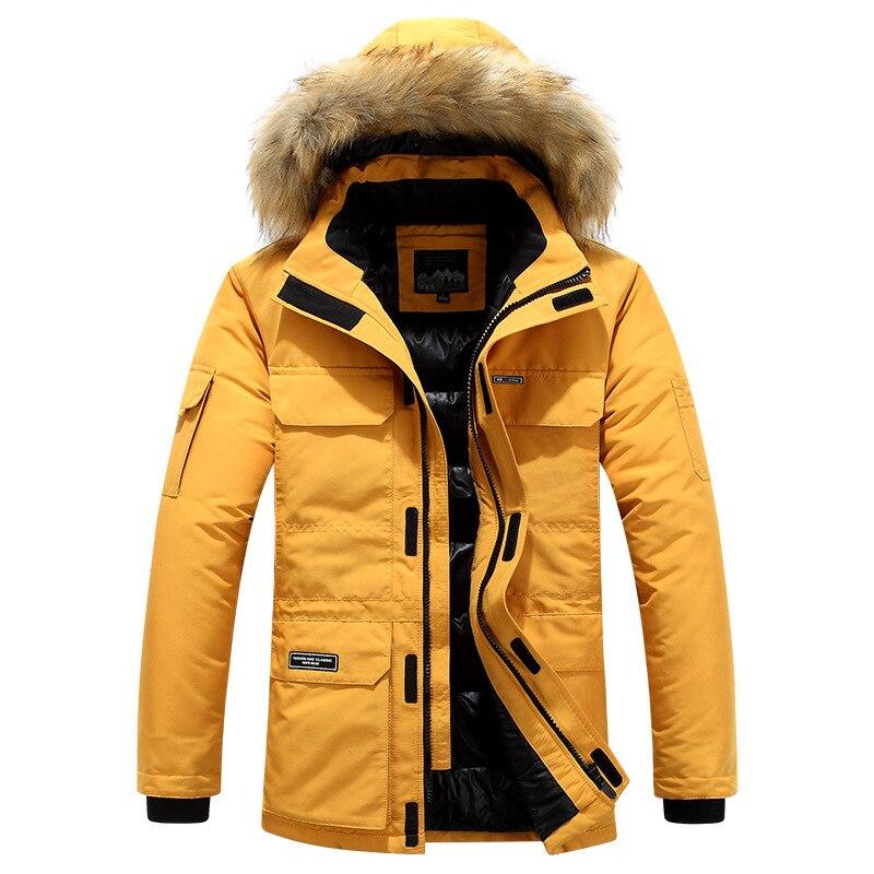 Grande taille mi longue veste d'hiver hommes coupe vent épais chaud col de fourrure hommes Parkas multi poches Outwear classique nouveaux manteaux - 3