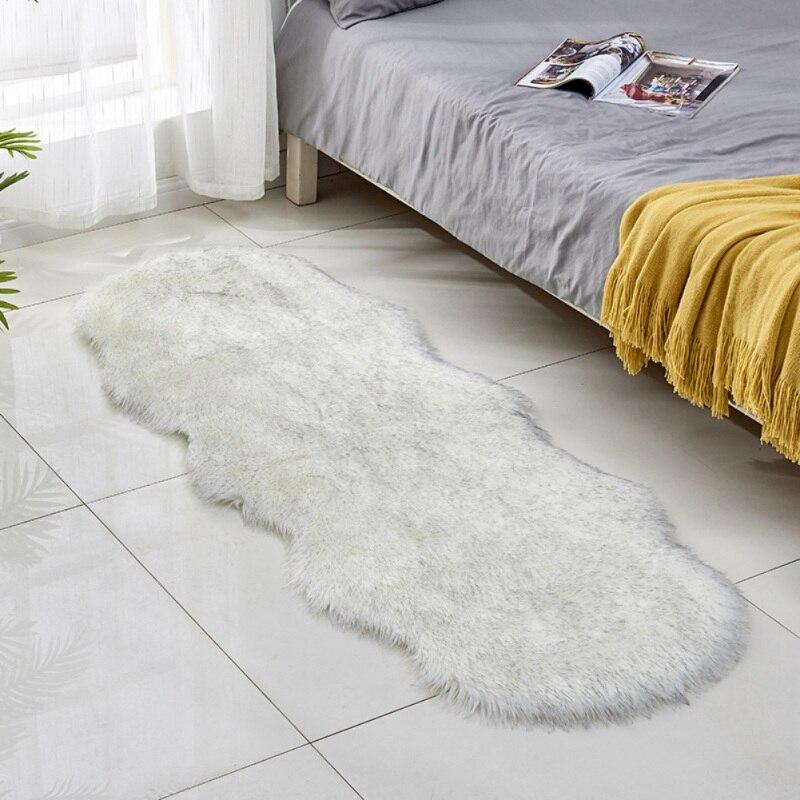 Style nordique Super doux fausse fourrure zone tapis longue peluche tapis Shaggy tapis pour salon chambre canapé étage décor 60X180 CM