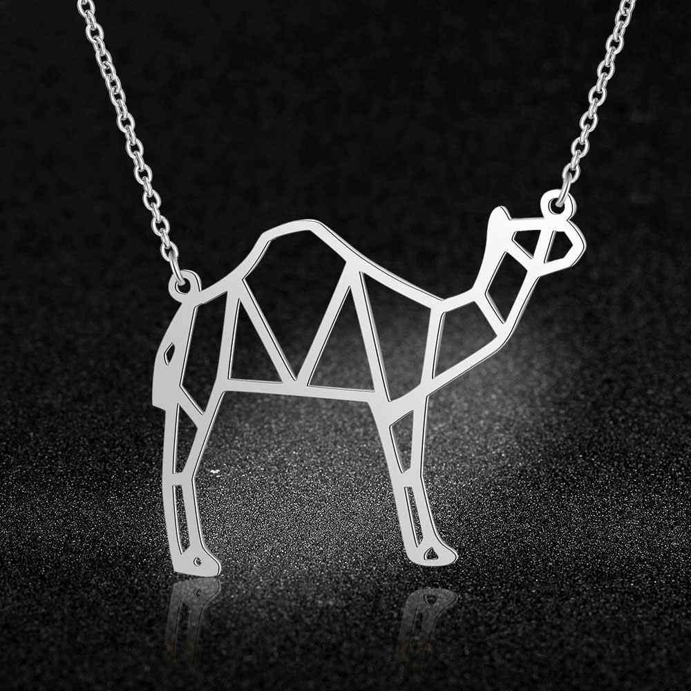 100% prawdziwe ze stali nierdzewnej 40cm wielbłąd naszyjnik unikalny biżuteria dla zwierząt naszyjnik osobowość biżuteria niesamowity Design