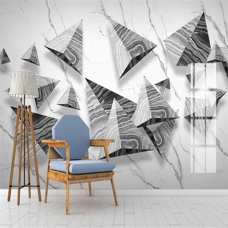 Large 3D Wallpaper Mural Custom Jazz White 3d Three-dimensional Geometric Marble Background Wallpaper Mural