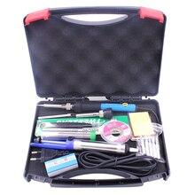 EU Plug 60W 220V 110V Adjustable Temperature Electric Soldering Iron Kit Tips Desoldering Pump Stand Tweezers Solder Wire Box
