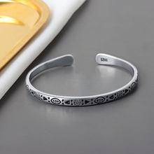 925 Sterling Silver Vintage Charm Bracelet &Bangle For Women Fashion Elegant Choke Jewelry