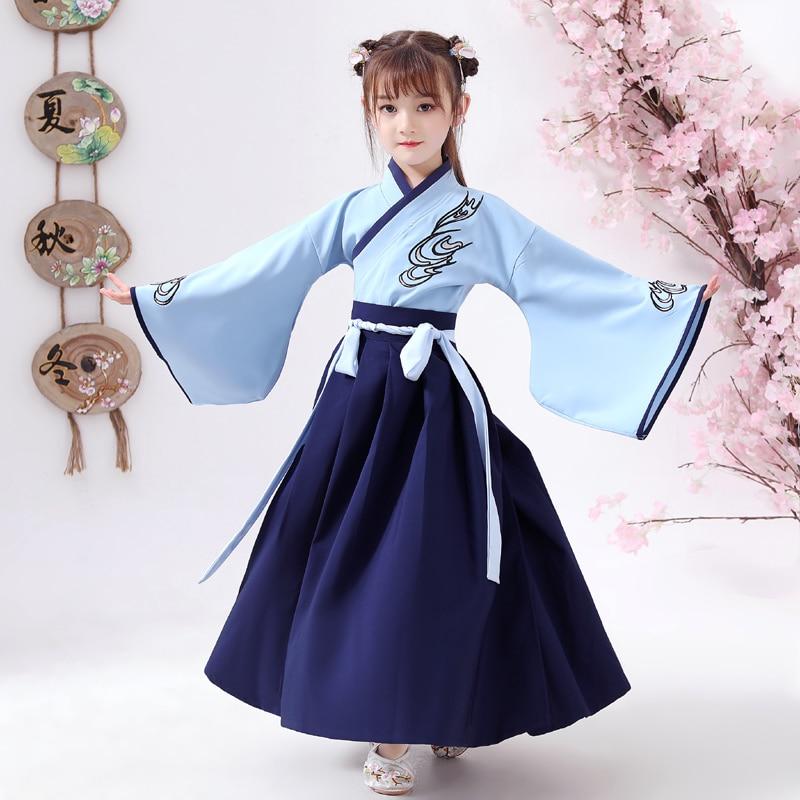 Костюм хан фу для мальчиков и девочек 2 шт., детский драматический халат, традиционное китайское платье с вышивкой в старинном стиле, одежда ...