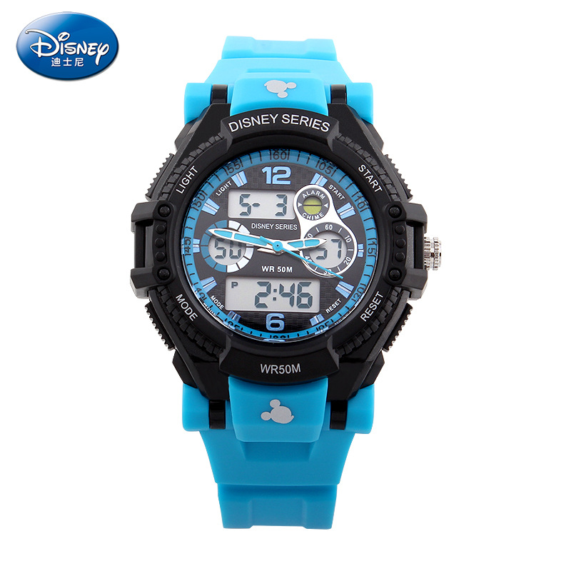 Disney Waterproof Children's Sports Electronic Watch Cool Multi-function Double Display Watch Kids Watches Boys5Bar Buckle