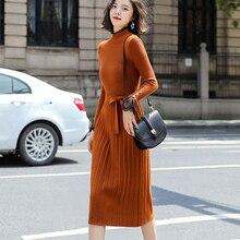 Fashion Sweater Dress Women Knitted Sweaters Dresses Korean Woman Pleated Vestidos De Fiesta Vintage