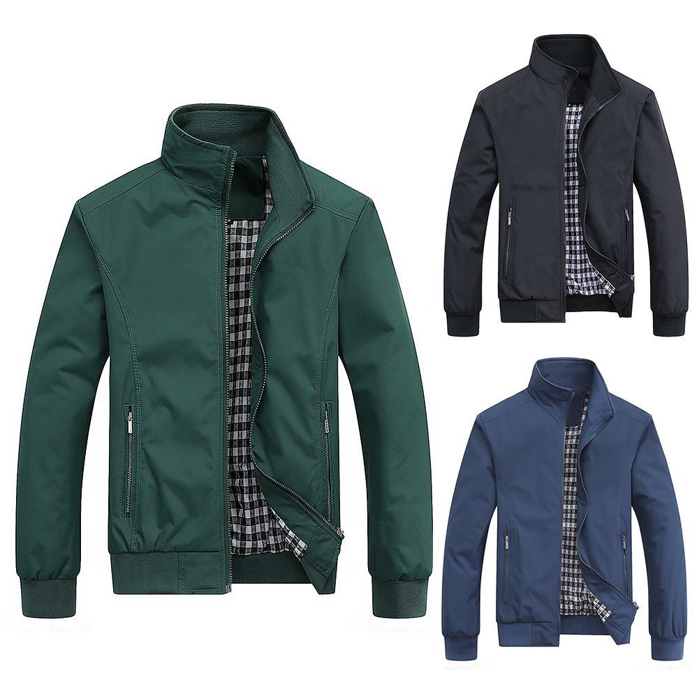 Men Jackets Coat Winter Solid Color Stand Collar Zipper Slim Jacket Coat Sportswear For Men Clothing Coat Streetwear