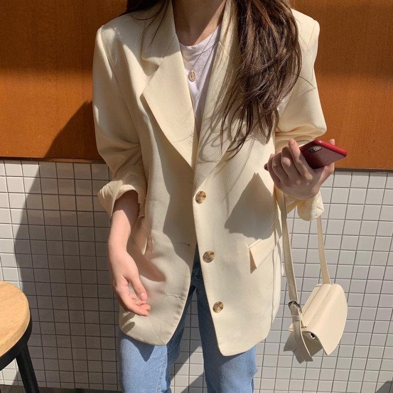 HziriP Slender Thin Chic Cream Color Office Ladies Vintage Loose Suit 2019 Elegant Feminine Women High Street All Match Blazers
