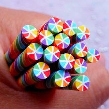 20pcs Miniature Candy Clay Cane   Rainbow Swirl Candy Fimo Polymer Clay Cane   Dollhouse Craft Supplies 0.5CM формочка блистер candy clay ягоды