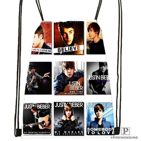 Custom Good-Justin-Bieber Drawstring Backpack Bag Cute Daypack Kids Satchel (Black Back) 31x40cm#180611-03-130