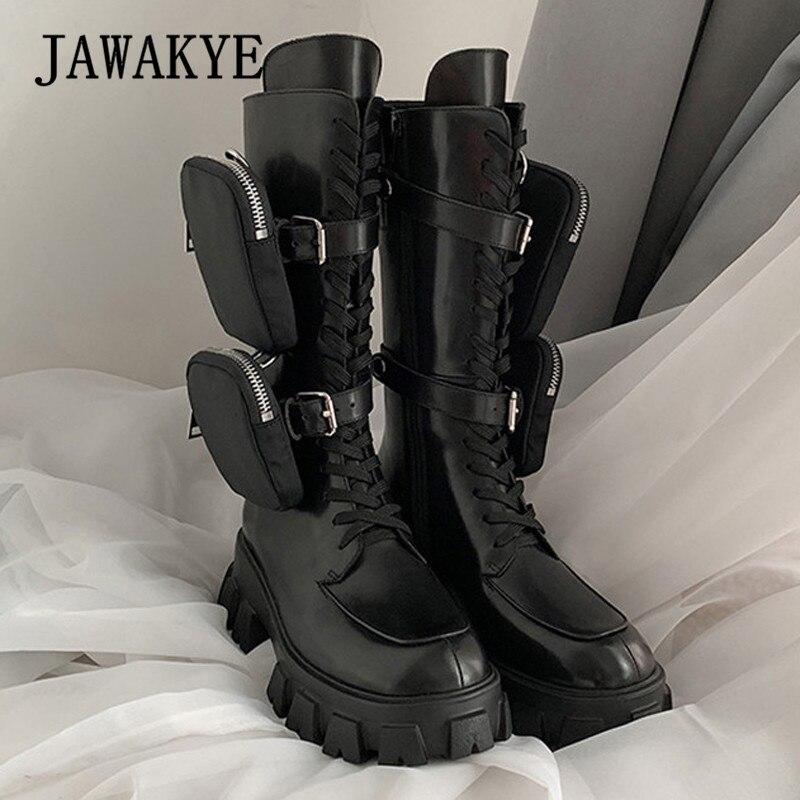 JAWAKYE Nieuwe Dikke bodem mid calf korte laarzen Vrouwen lace up Rits met pocket Lange Laarzen Zwart Winter motorlaarzen vrouw - 4