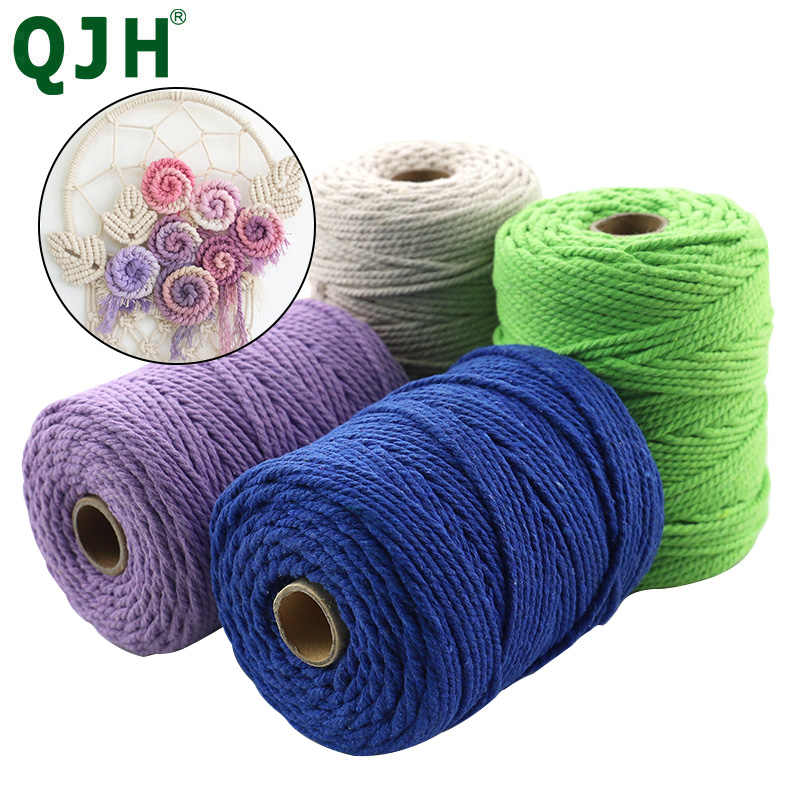 2mm/3mm Natural hecho a mano hilo de algodón macramé Crochet cuerda DIY colgante tapiz tejer hilo cuerda DIY hecho a mano