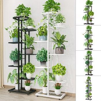 Soporte metálico para plantas de hierro de 4/5/6 niveles estante de exhibición para exteriores, maceta para flores de balcón para decoración del hogar