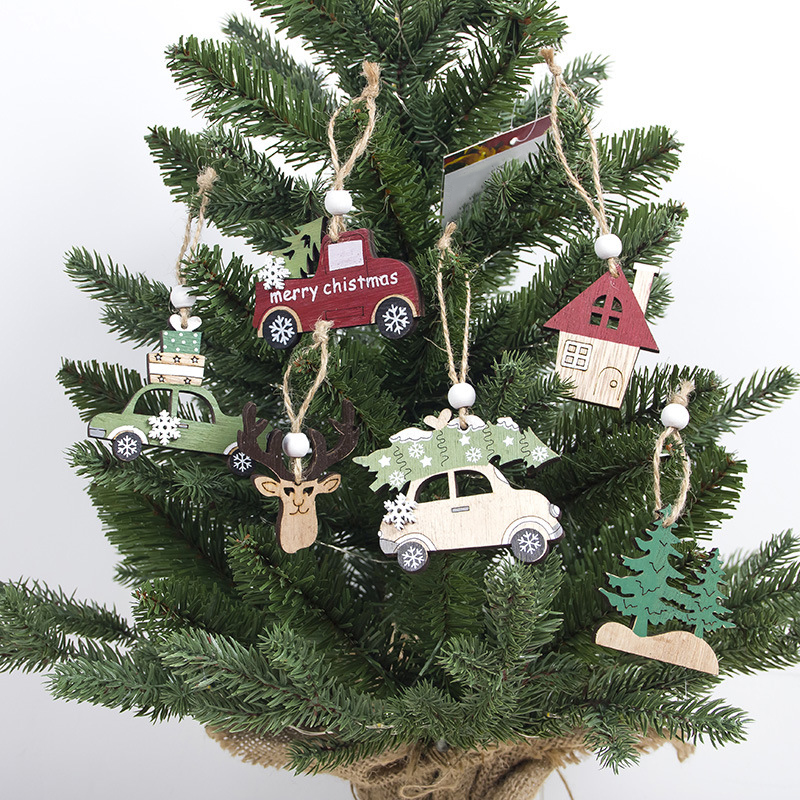 1Pcs Pendant Shop Christmas Cabin Creative Wooden Deer Car House Tree Attractive New Design image