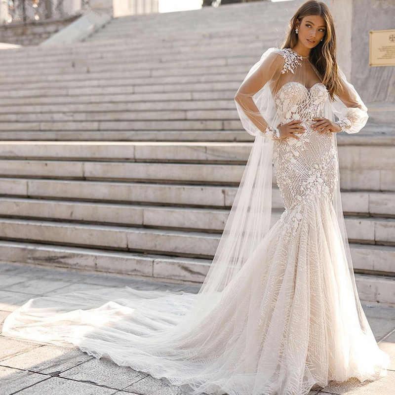 Свадебное платье с открытой спиной и цветочным принтом, свадебное платье со съемной накидкой без бретелек, кружевные свадебные платья 2019, милое длинное платье невесты из тюля