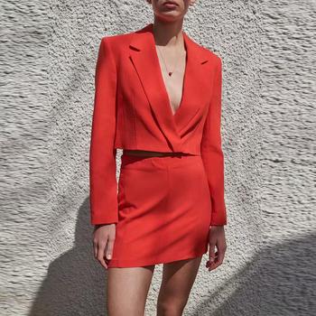 Za garnitur garnitury biurowe kobiety garnitury garnitur 2-kawałek garnitur 2021 wiosna moda szczupła czerwony krótki spódnica garnitury dorywczo szykowne miejskie młodzieży garnitury tanie i dobre opinie JUESHEYIREN marszczona CN (pochodzenie) COTTON Na wiosnę jesień Stałe Na co dzień A-LINE Z nacięciem Dla osób w wieku 18-35 lat