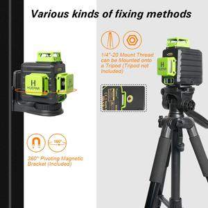 Image 5 - Huepar 3D Cross Line Self leveling Laser Level 12 lines Green Beam Li ion Battery with Type C Charging Port & Hard Carry Case