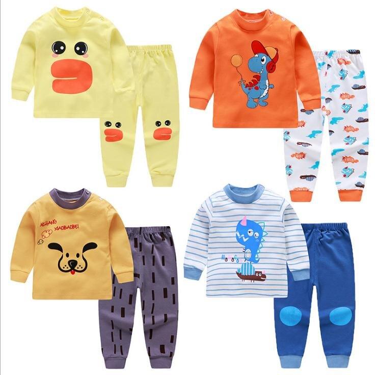 Kids Pajamas Sets Baby Boys Girls Cotton Long Sleeved Tshirt+pant Cartoon Girl Clothing Autumn Sleepwear Suit Pyjama Trousers