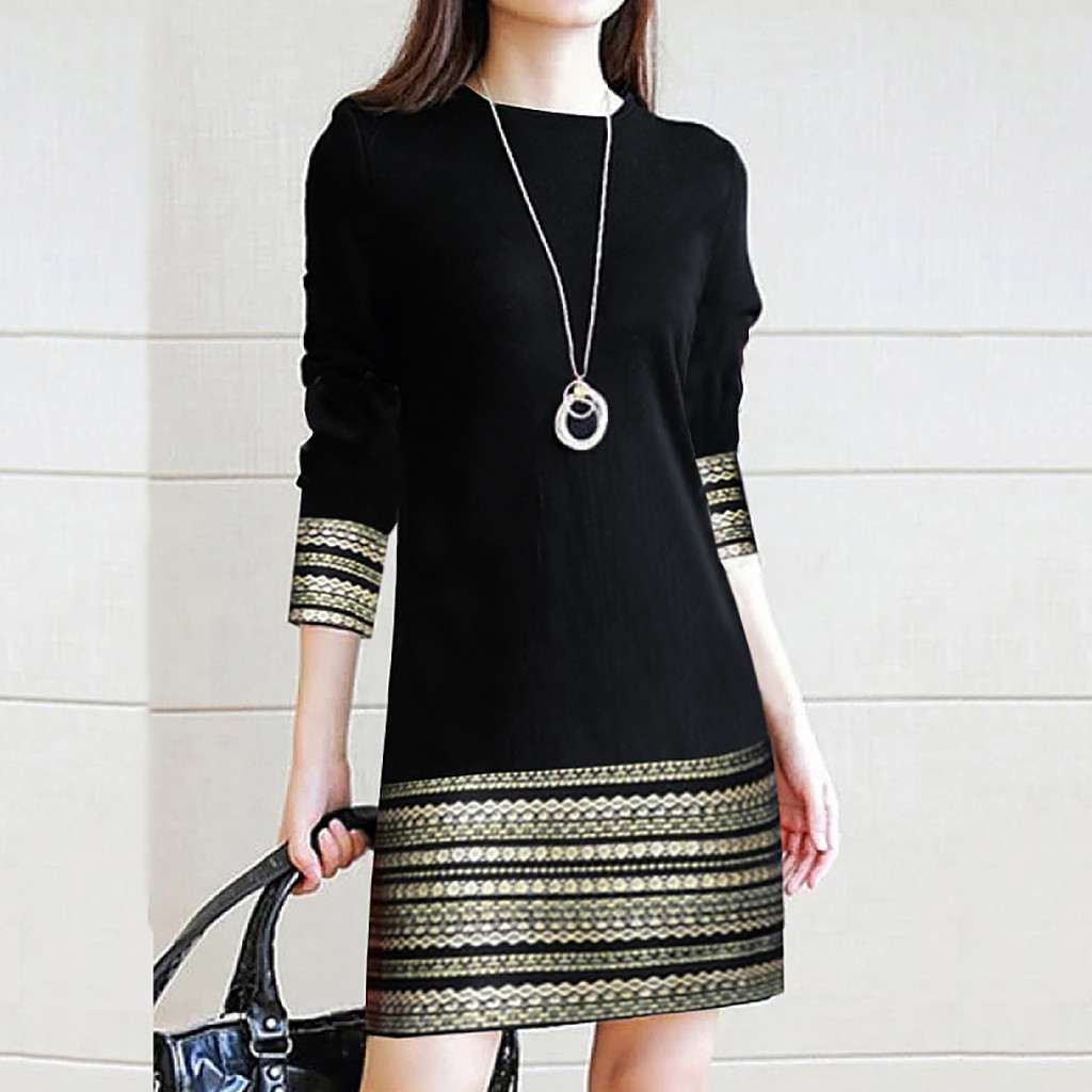 Dress Women Autumn Winter Long Sleeve Dress Elegant Splice Casual Dress Loose Over The Knee Dress Vestido Женское Платье 2021