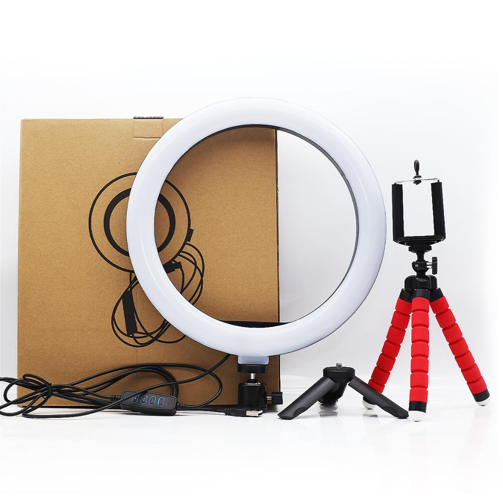 6in 10in 16cm 26cm LED Ring Light Phone Holder Selfie Mini tripod Ring Lamp For iphone huawei xiaomi Youtube Live broadcast Vide image