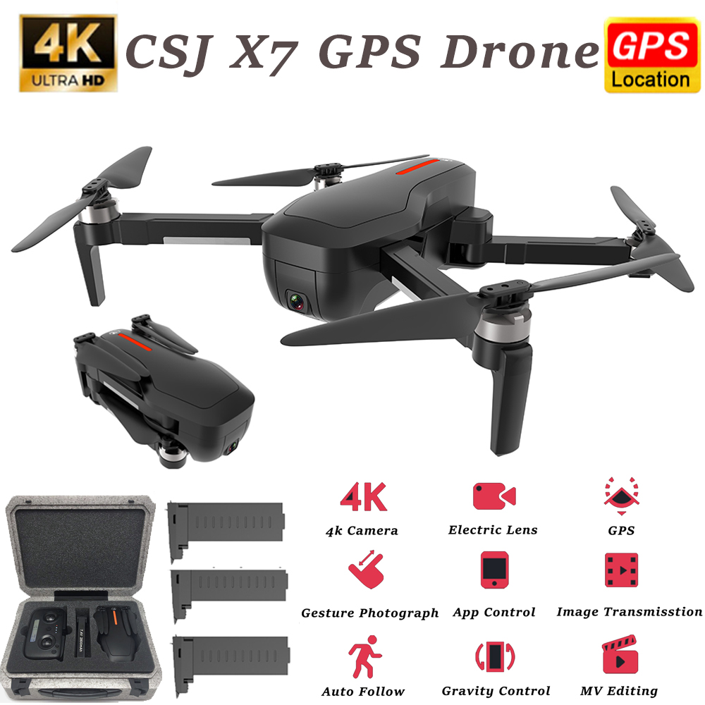CSJ-X7 Mini Drone With 4K Camera 5G Wifi GPS FPV Quadcopter Foldable Professional Drone RC Helicopter Follow Me Dron With Box