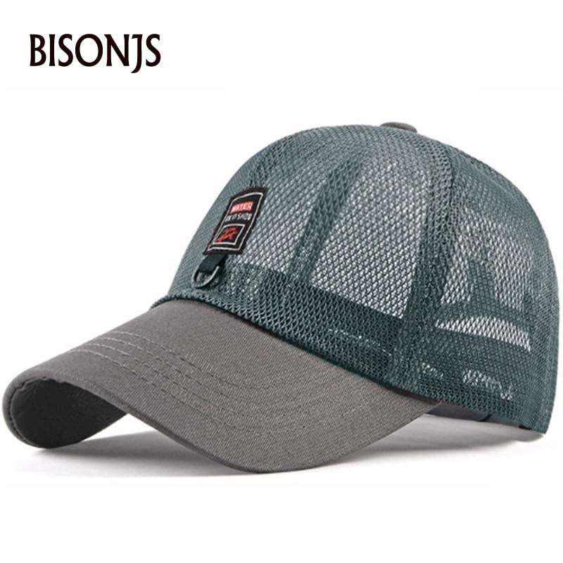 BISONJS 2020 Men Personality Net Hat Outdoor Women Leisure Adjustable Baseball Cap Summer Gorras Sun Hat Breathable Snapback Cap(China)