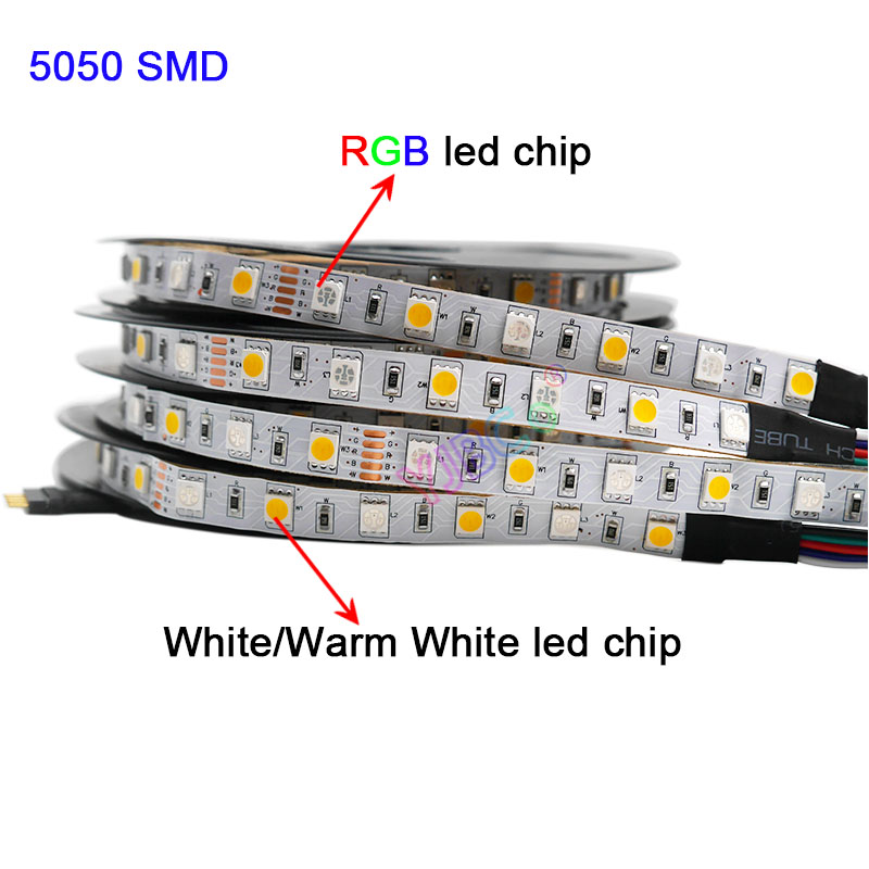 5m RGBW RGBWW RGB CCT LED Strip lightDC12V 24V RGB    White Warm White  SMD 5050 Flexible led lamp tape