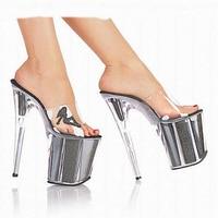 Ultra thin heel waterproofing platform crystal thin heel sequined nightclub shoes 20cm high heels