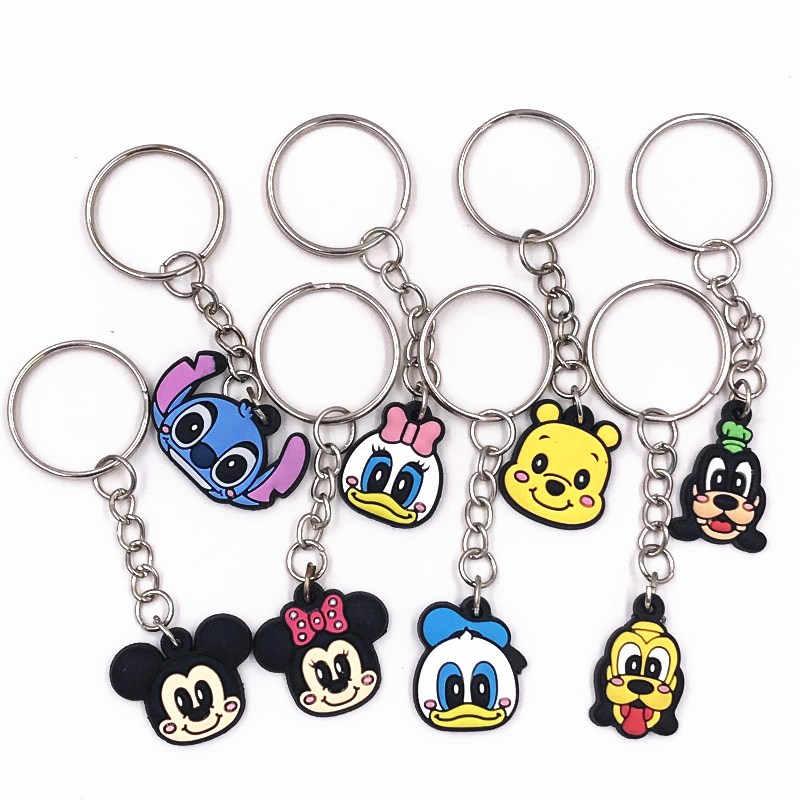 1 Pcs Sayang Kartun Minnie Kunci Ikon Cincin PVC Liontin untuk Anak-anak Pesta Hadiah Gantungan Kunci Stitch Perhiasan Gantungan Kunci Aksesoris