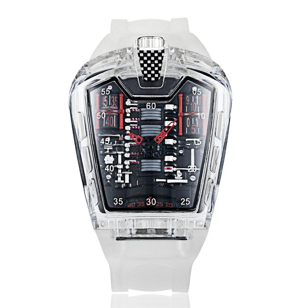 Men's Fashion Trend Personality Classic Quartz Watch Luxury Racing Free Silicone Strap Clock Transparent Movemen Relogio