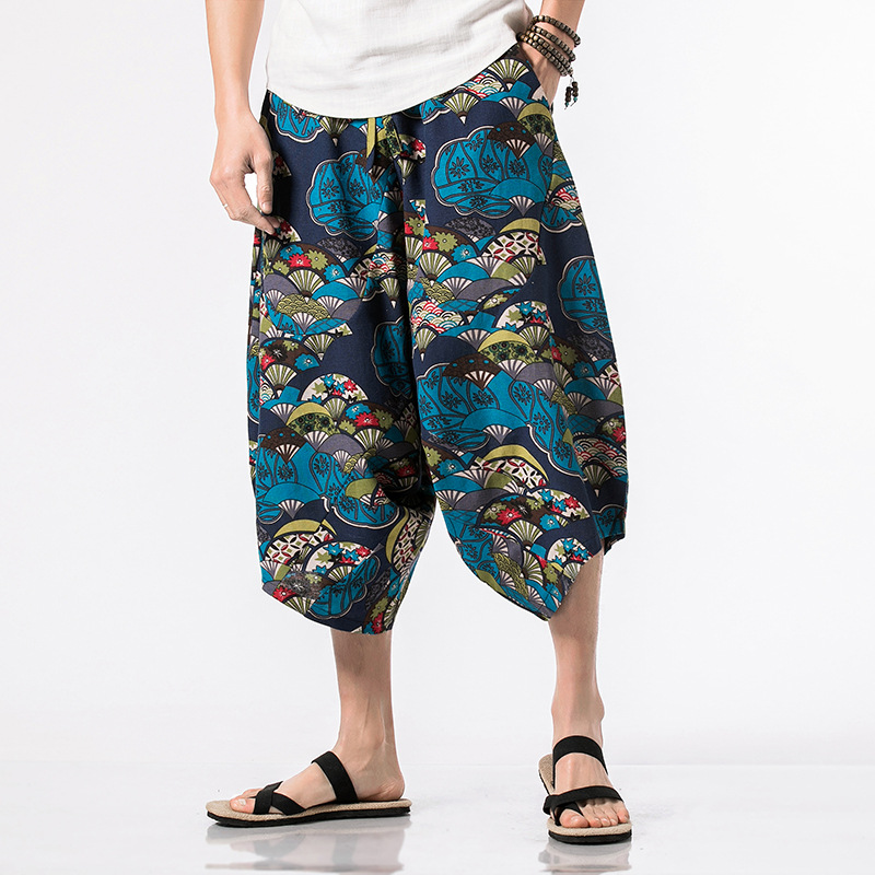 2019 Summer Retro Chinese-style Drawstring Capri Pants Bloomers Japanese-style Casual Men's Loose-Fit Floral-Print Large Size