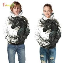 White Horse Unicorn Hoodie Sweatshirt Hooded Costume Long Sleeve Girls Hoodies Kids Streetwear Fall Casual Toddler Girl Clothes