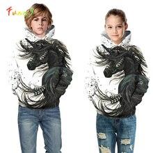 흰 말 유니콘 까마귀 스웨터 후드 의상 긴 소매 여자 후드 아이 streetwear 가을 캐주얼 유아 소녀 옷