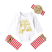 My First Christmas Girl Newborn Babys Sets Clothes for Newborns 3Pcs Kids Clothing Baby Outfit
