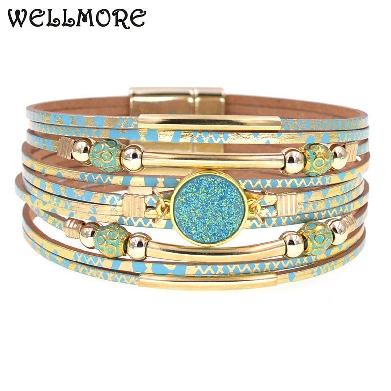 WELLMORE women bracelets bohemia bracelets fashion wrap bracelet leather bracelets for women Female Jewelry wholesale