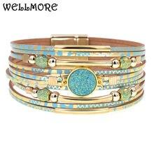 Женский кожаный браслет wellmore браслеты из богемной кожи ювелирные