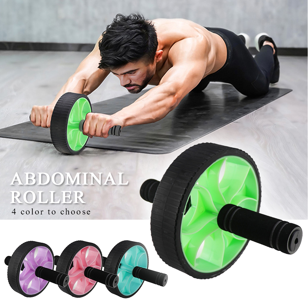 Fitness Equipment TPE Arm Waist Muscle Training Dual Handle Home Gym Portable Body Building Exercise Wheel Abdominal Roller Mute