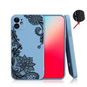 Сексуальный силиконовый чехол с цветочным кружевом и пионами для iPhone 12 11 Pro XS MAX XR 7 8 Plus, роскошный противоударный чехол для телефона ярких цветов