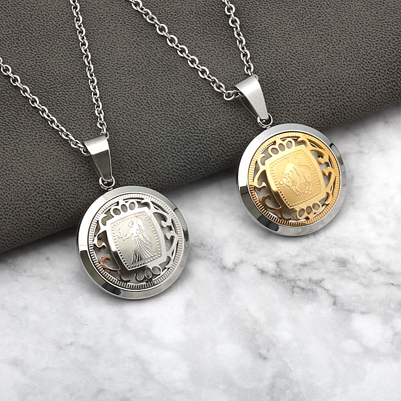 Men's Women's Stainless Steel <font><b>Zodiac</b></font> <font><b>Pendant</b></font> <font><b>Necklace</b></font> Leo Gemini Taurus Virgo <font><b>Zodiac</b></font> <font><b>Signs</b></font> Dropshipping <font><b>12</b></font> <font><b>Constellation</b></font> Charm image