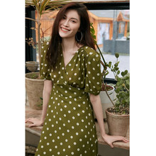 Women's Summer Boho Polka Dot Short Sleeve V Neck Swing Midi Dress 2021 New Vintage Green Chiffon Sundress Vestidos