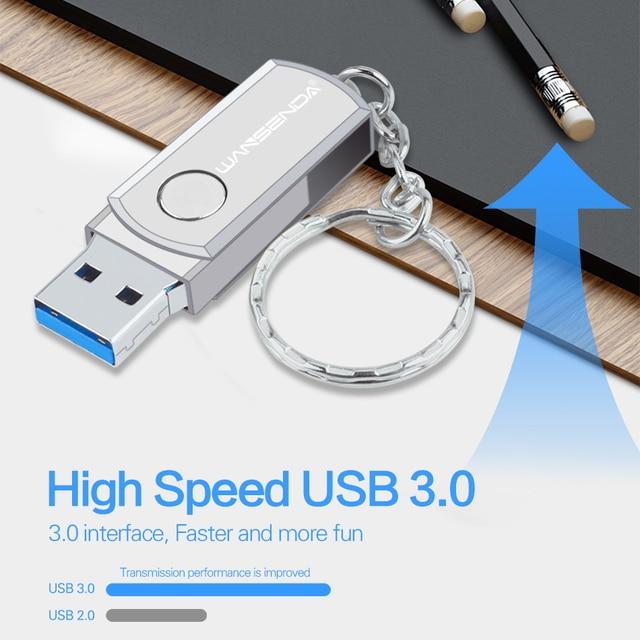 Stainless Steel USB 3.0 Pen Drive 256GB 128GB USB Flash Drive 16GB 32GB 64GB Pendrive USB Stick with Keychain Flash Drive 4